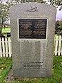 Minnestøtte (Memorial stone) Krigsseglarane Krigseilerne 2. verdenskrig (The War Sailors WW2), Emigrantkyrkja (Brampton Lutheran Church, North Dakota) & Vestnorsk utvandringssenter,Radøy, Hordaland, Norway 2017-10-03.jpg