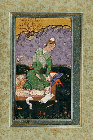 Quran reading - Mir Sayyid Ali, a young scholar in the Mughal Empire, reading and writing a commentary on the Quran in the year 1559.