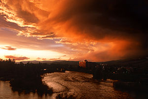 The Clark Fork River flows through downtown Mi...