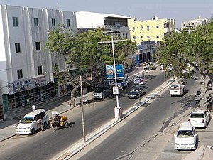 Transport in Somalia - Newly constructed roads and buildings in Mogadishu.
