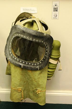Gas mask - A 1939 Second World War-era baby's gas mask in Monmouth Regimental Museum. This design covered the whole of the baby except for its legs.