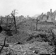 A lepusztított Cassino a nehézbombázás után