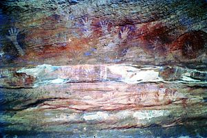 Mutawintji National Park - Aboriginal rock art located within the national park, 1976.
