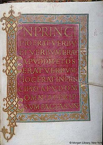 Lindau Gospels - Folio 168r, with the beginning of the Gospel of John