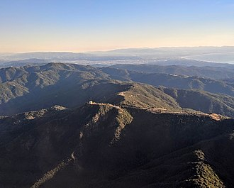 Mount Umunhum - Mount Umunhum aerial, with Monterey Bay in background, 2018