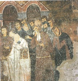 Medieval Serbian nobility - Mourning nobility at the burial of Queen Anna Dandolo.