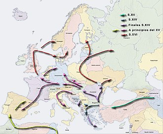 Romanichal - The migration of the Romanies through the Middle East and Northern Africa to Europe.
