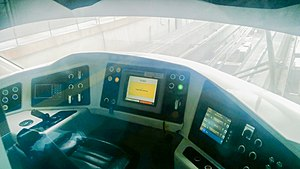 Scomi SUTRA - Driver's cab of the SUTRA with the vehicle management system visible