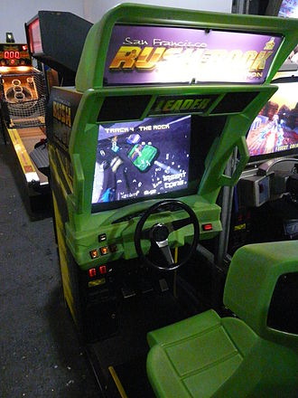 Glossary of video game terms - The attract mode for the arcade game San Francisco Rush: The Rock showcasing one of the race tracks available to play in the game.