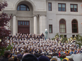 The Band of the Fighting Irish plays on the steps of Bond Hall before every home game