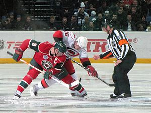 2010–11 NHL season - The first face off of the season, Hurricanes at Wild in Helsinki, Finland.