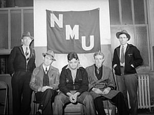 National Maritime Union - Seamen in hiring hall, NMU banner, New York City, December 1941. (Photograph: Arthur Rothstein)