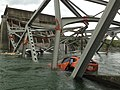 Collapsed section of the I-5 bridge