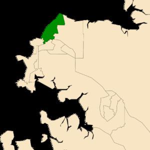 Electoral division of Casuarina - Location of Casuarina in the Darwin/Palmerston area