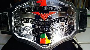 NWA Pacific Northwest Heavyweight Championship - The current NWA Pacific Northwest Heavyweight championship belt, reintroduced in NWA Blue Collar Wrestling in January 10, 2015.