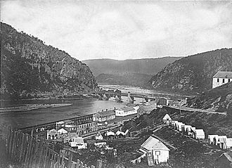 Jackson's operations against the B&O Railroad (1861) - Photo of Virginia Militia raid base at Harpers Ferry taken later in 1865, looking east (downstream)