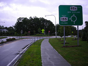 New York State Route 85A - NY 85A eastbound at the junction with NY 155 in Voorheesville
