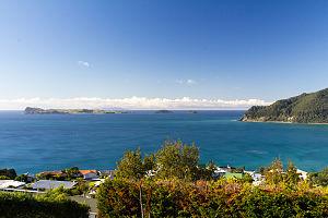 Slipper Island - Slipper (left), Penguin and Rabbit Islands from Mount Paku, Tairua