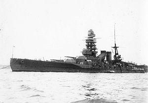Japanese battleship Nagato - Nagato at anchor in Yokosuka, October 1927