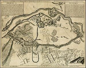 Befestigungen, Truppenbewegungen, Batterien der Schlacht bei Narva gezeichnet von Zacharias Wolf