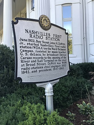 Belmont University - Image: Nashville's First Radio Station