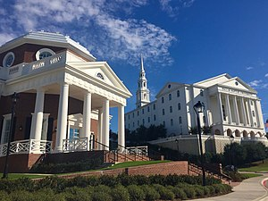 Dallas Baptist University - Nation Hall (foreground) and Pilgrim Chapel