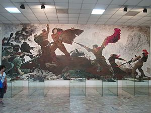 National Historical Museum (Albania) - Mural painting dedicated to the Antifascist war.