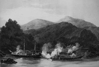 Proa - Moro pirate prahus attacking the ship of James Brooke off Sarawak.