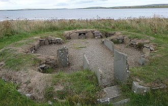 Barnhouse Settlement - House 3, remains of one of the houses in the Barnhouse Settlement, looking out over the Loch of Harray