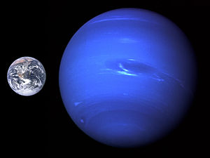 Neptune - A size comparison of Neptune and Earth