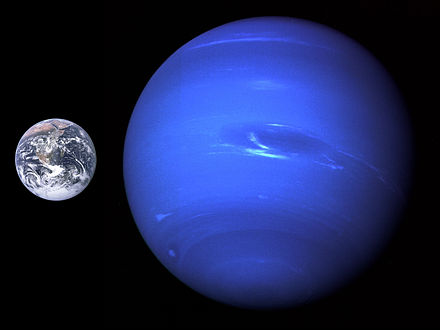 A size comparison of Neptune and Earth Neptune, Earth size comparison 2.jpg