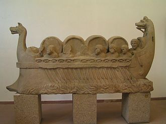 Roman commerce - River vessel carrying barrels, assumed to be wine