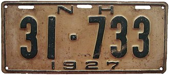 Vehicle registration plates of New Hampshire - Image: New Hampshire 1927 license plate