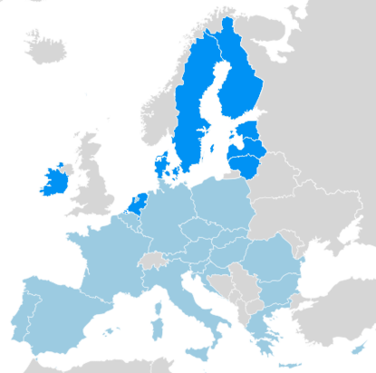 Map of Europe with the members of the New Hanseatic League in blue