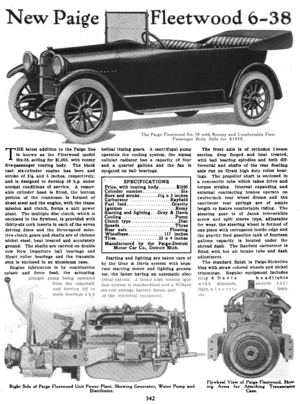 Paige automobile - A new Paige model, the Fleetwood 6-38, in the journal Horseless Age, 1916.