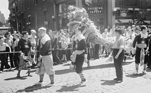 Chinatown, Montreal - Dragon dance on Clark Street in 1939