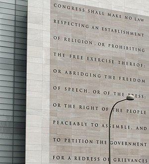 Freedom of speech in the United States - The Newseum's five freedoms guaranteed by the First Amendment to the U.S. Constitution