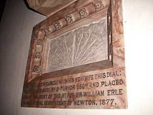Colsterworth - Memorial plaque with sundial plate, cut with a penknife by Sir Isaac Newton in 1651, in St John the Baptist's church