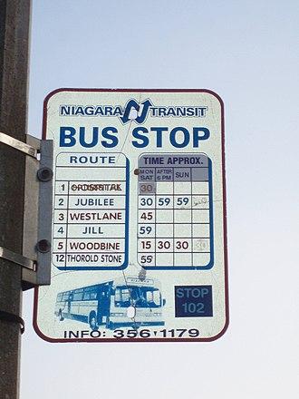 Niagara Falls Transit - STOP 102: Old Bus Stop Sign