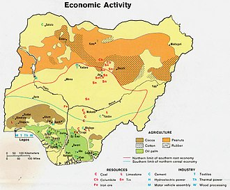 Agriculture in Nigeria - A map of Nigeria's main agricultural products.