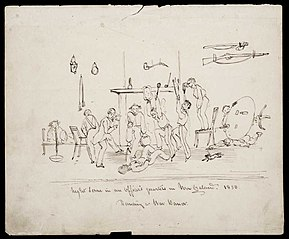 Night scene in an officer's quarters in New Zealand. 1850. Dancing a war dance.