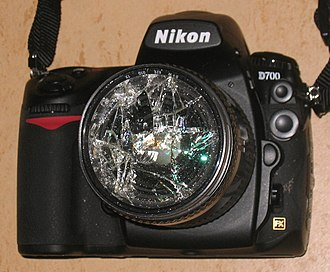 Photographic filter - An extreme case: a Nikon D700 with a smashed filter which may have saved the Nikkor lens beneath. Usually, all that can reasonably be expected is protection from scratches, nicks and airborne contaminants.