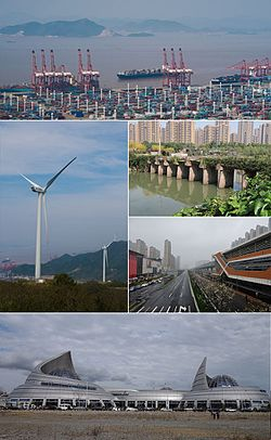 Clockwise from the top: Port of Ningbo, Yanshan Dyke, Zhonghe Road Station, China Port Museum, Chuanshan Wind Power Plant