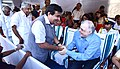 Nitin Gadkari being welcomed by the Governor of Kerala, Justice (Retired) P. Sathasivam at the grand finale of Onam week celebrations, in Thiruvananthapuram. The Chief Minister of Kerala.jpg