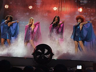 No Angels - No Angels during their performance at the Eurovision Song Contest finals on May 24, 2008 in Belgrade, Serbia.