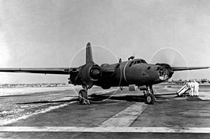 North American XB-28 Dragon - North American XB-28 with engines running.