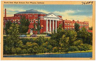 North Side High School (Fort Wayne, Indiana) - A postcard depicting North Side, circa 1930–1945.