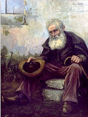 "Homelessness in popular culture - ""Old Beggar"" by Louis Dewis, 1916"