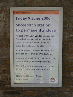 Shoreditch tube station - Shoreditch station closure notice in 2006
