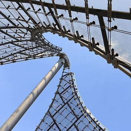 Tensile membrane roof in Olympiapark, Munich - detail.
